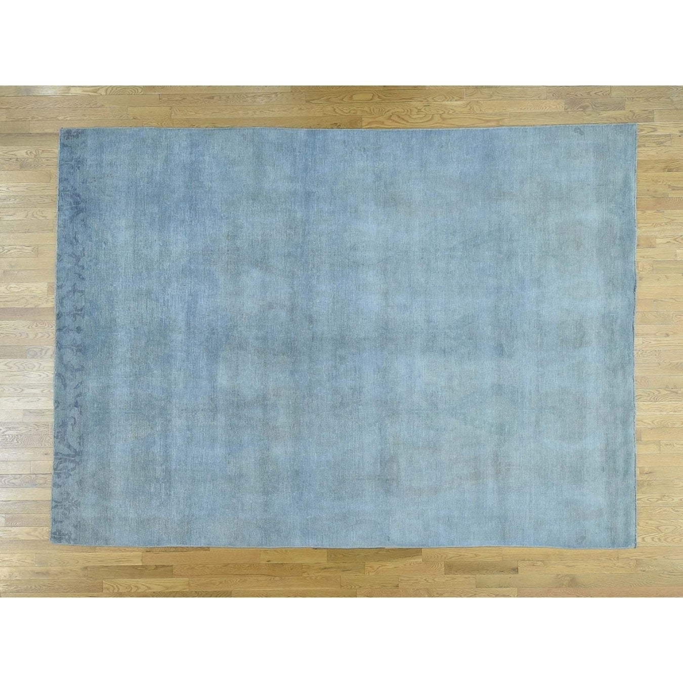 Hand Knotted Blue White Wash Vintage & Silver Wash with Wool Oriental Rug - 9 x 125