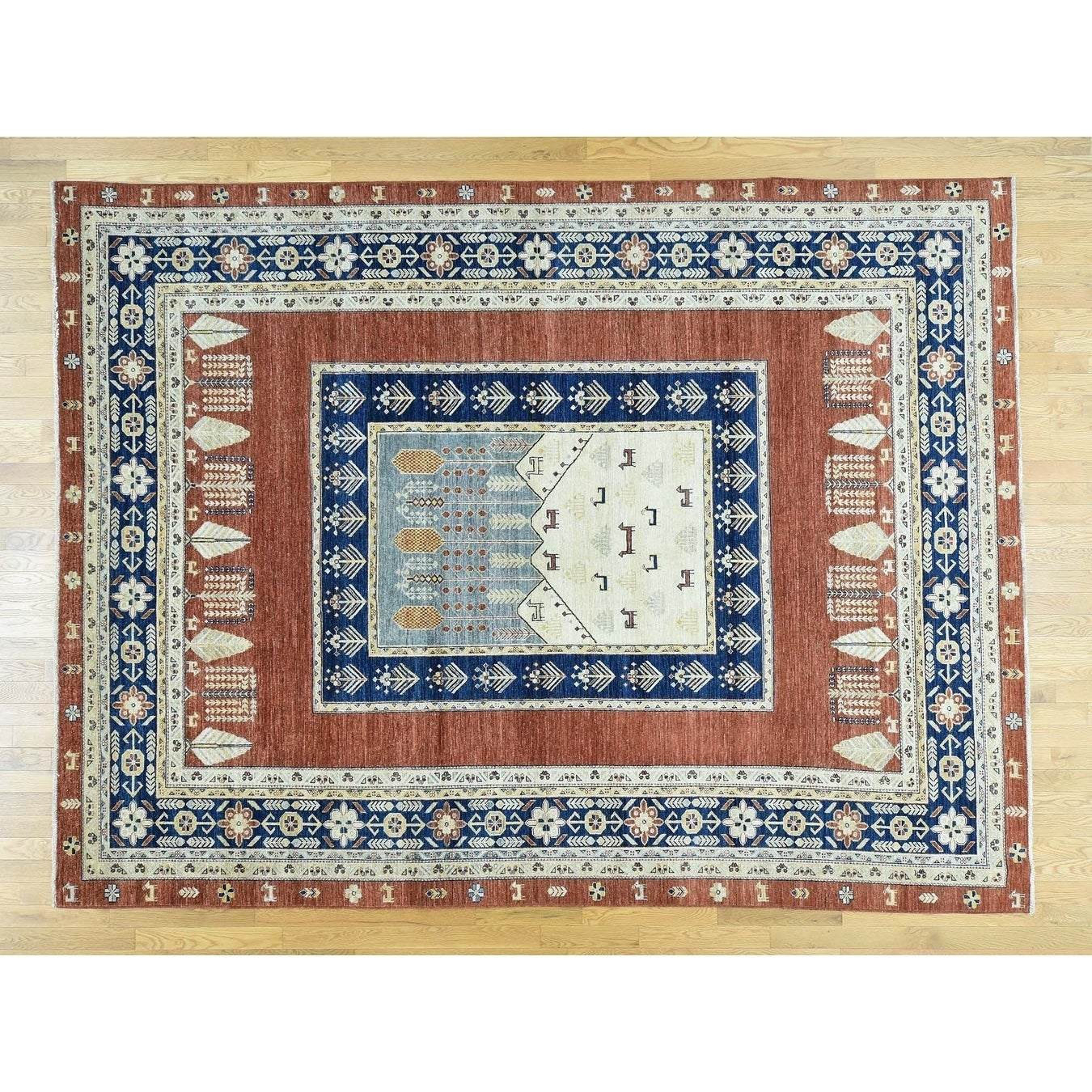 Hand Knotted Brown Tribal & Geometric with Wool Oriental Rug - 9 x 12