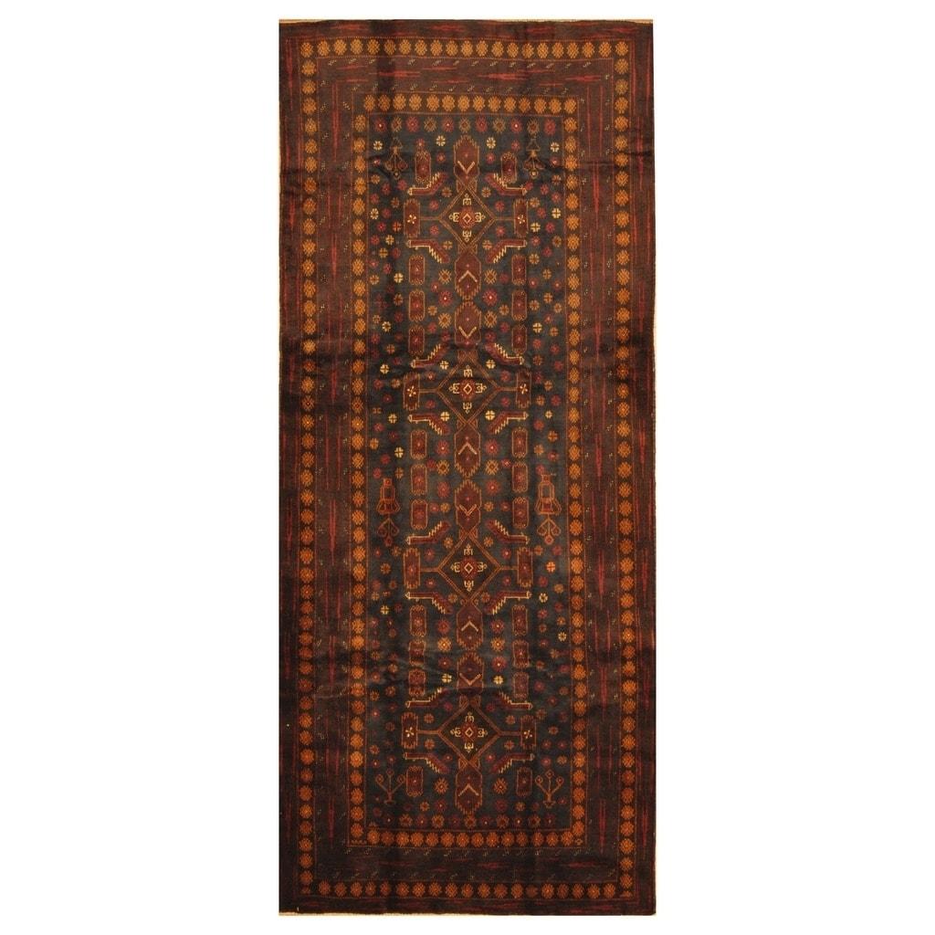 Handmade Herat Oriental Afghan Hand-knotted Tribal Semi-Antique Balouchi Wool Rug (42 x 10) - 42 x 10 (Navy - 42 x 10)