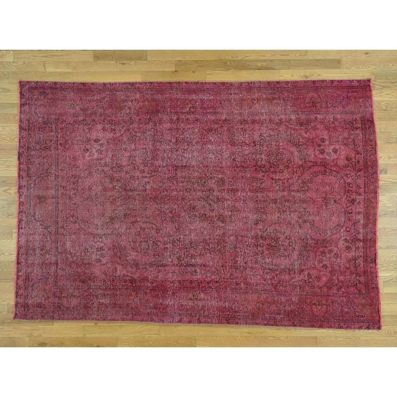 Hand Knotted Pink Overdyed & Vintage with Wool Oriental Rug - 62 x 91