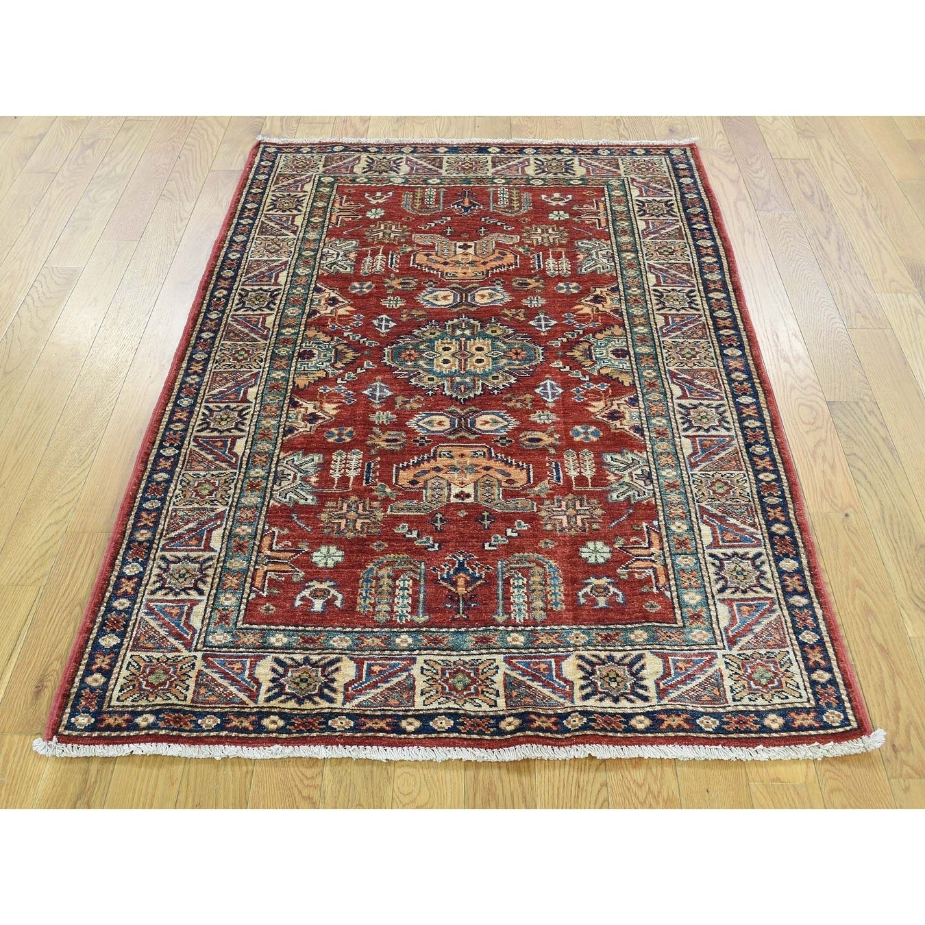 Hand Knotted Red Kazak with Wool Oriental Rug - 33 x 51