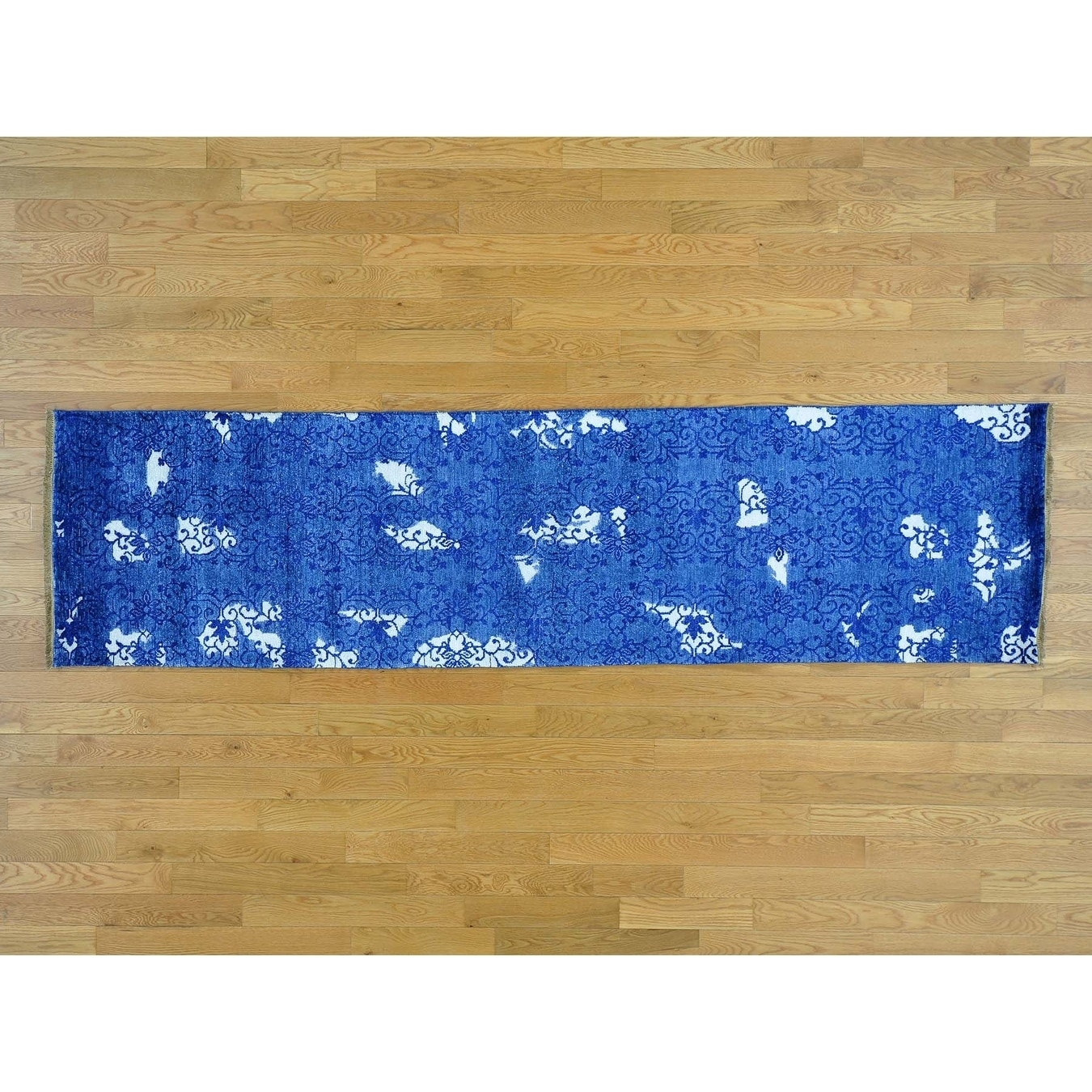 Hand Knotted Blue Modern & Contemporary with Art Silk Oriental Rug - 26 x 97