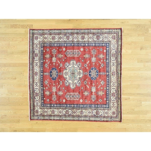 Hand Knotted Red Kazak with Wool Oriental Rug - 5'9 x 5'10