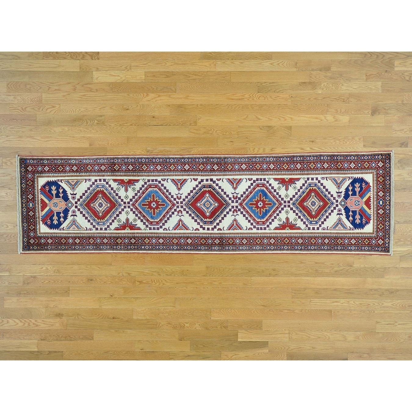 Hand Knotted Ivory Kazak with Wool Oriental Rug - 26 x 94