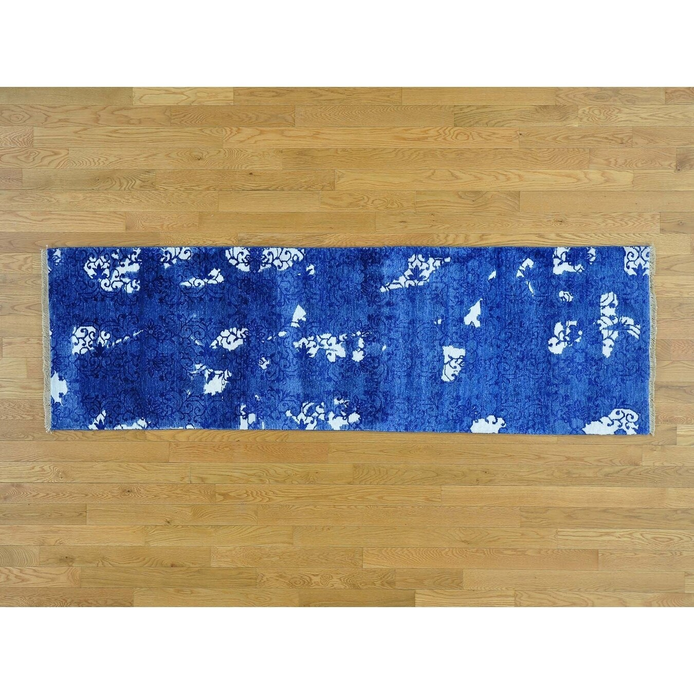 Hand Knotted Blue Modern & Contemporary with Art Silk Oriental Rug - 25 x 710