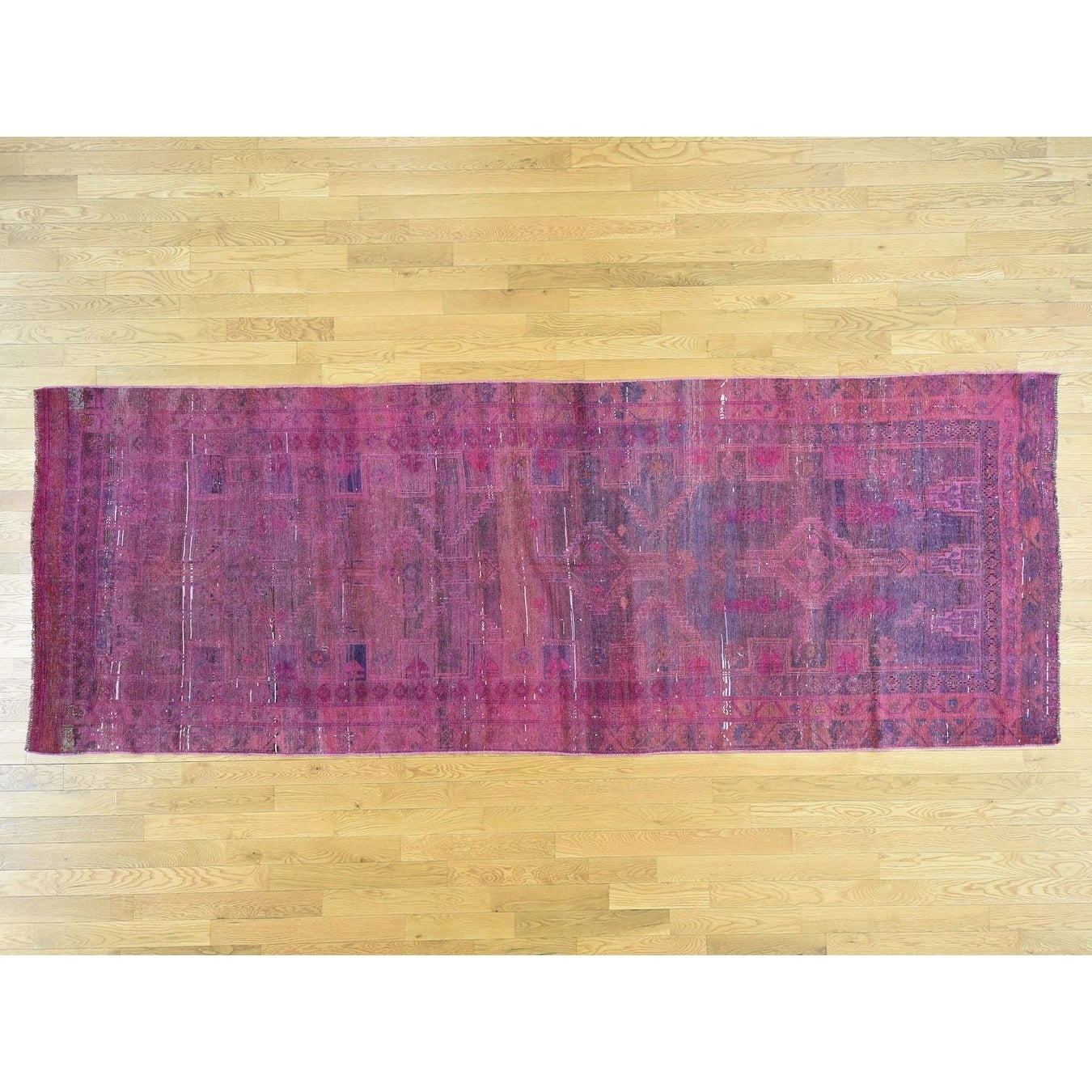 Hand Knotted Pink Overdyed & Vintage with Wool Oriental Rug - 410 x 134