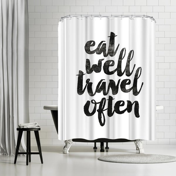 Shop Americanflat Eat Well Travel Often 2 Shower Curtain