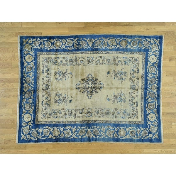 Hand Knotted Beige Antique with Wool Oriental Rug - 5'10 x 7'9. Opens flyout.