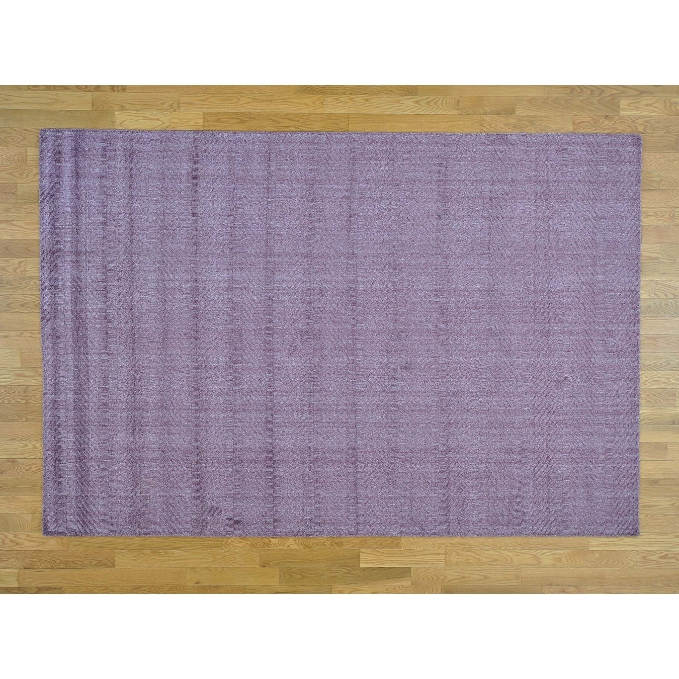 Hand Knotted Purple Modern & Contemporary with Wool & Silk Oriental Rug - 61 x 9