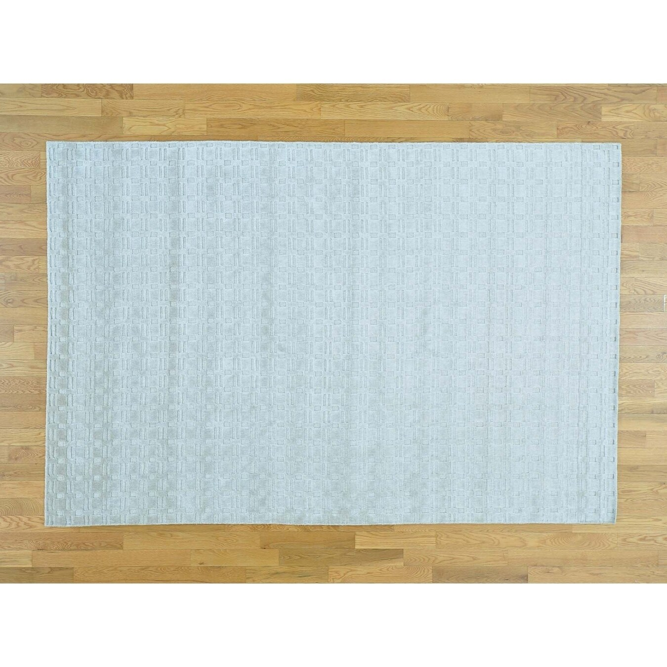 Hand Knotted Grey Modern & Contemporary with Wool & Silk Oriental Rug - 61 x 9