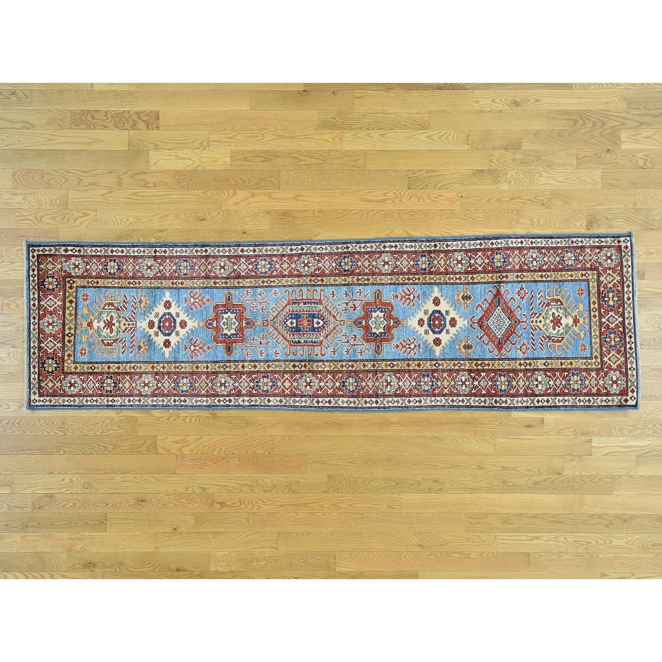 Hand Knotted Blue Kazak with Wool Oriental Rug - 28 x 98
