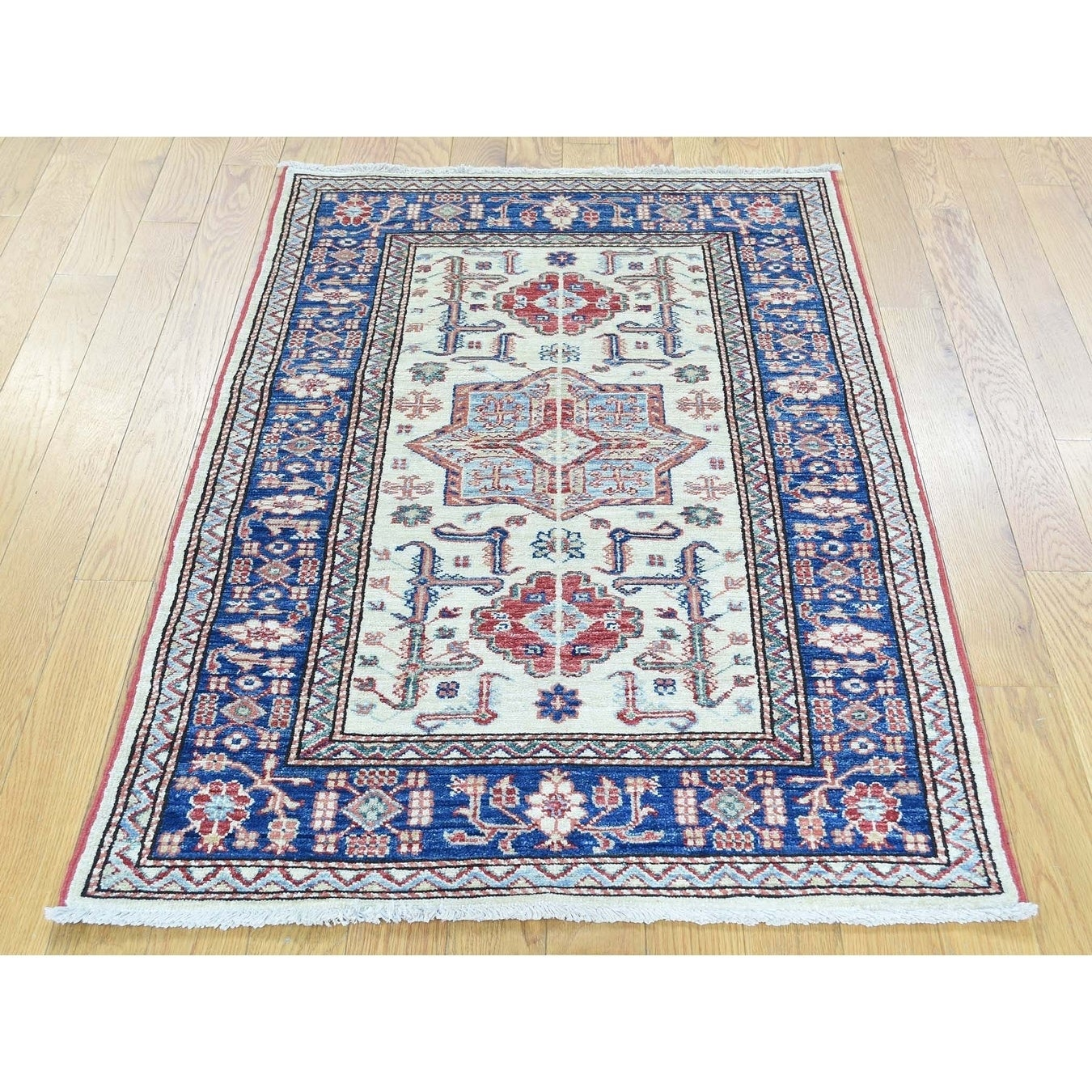 Hand Knotted Ivory Kazak with Wool Oriental Rug - 28 x 42