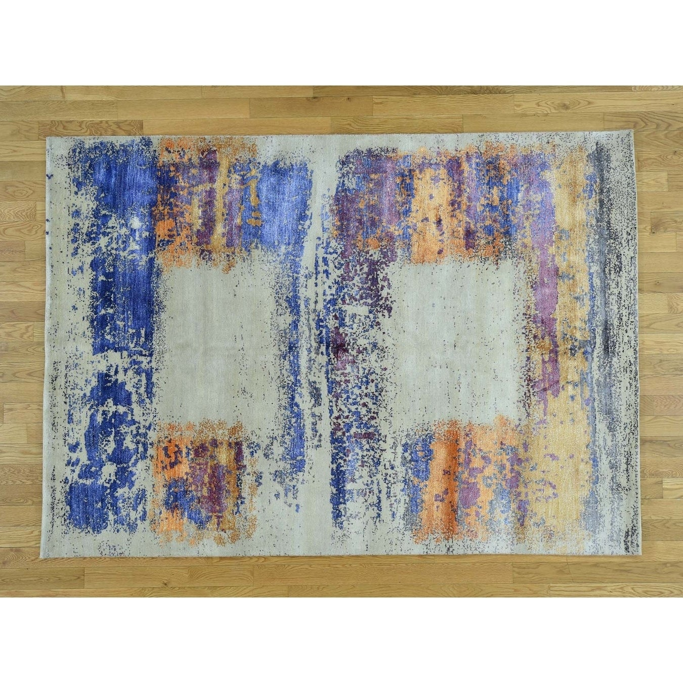 Hand Knotted Ivory Modern & Contemporary with Wool & Silk Oriental Rug - 57 x 8