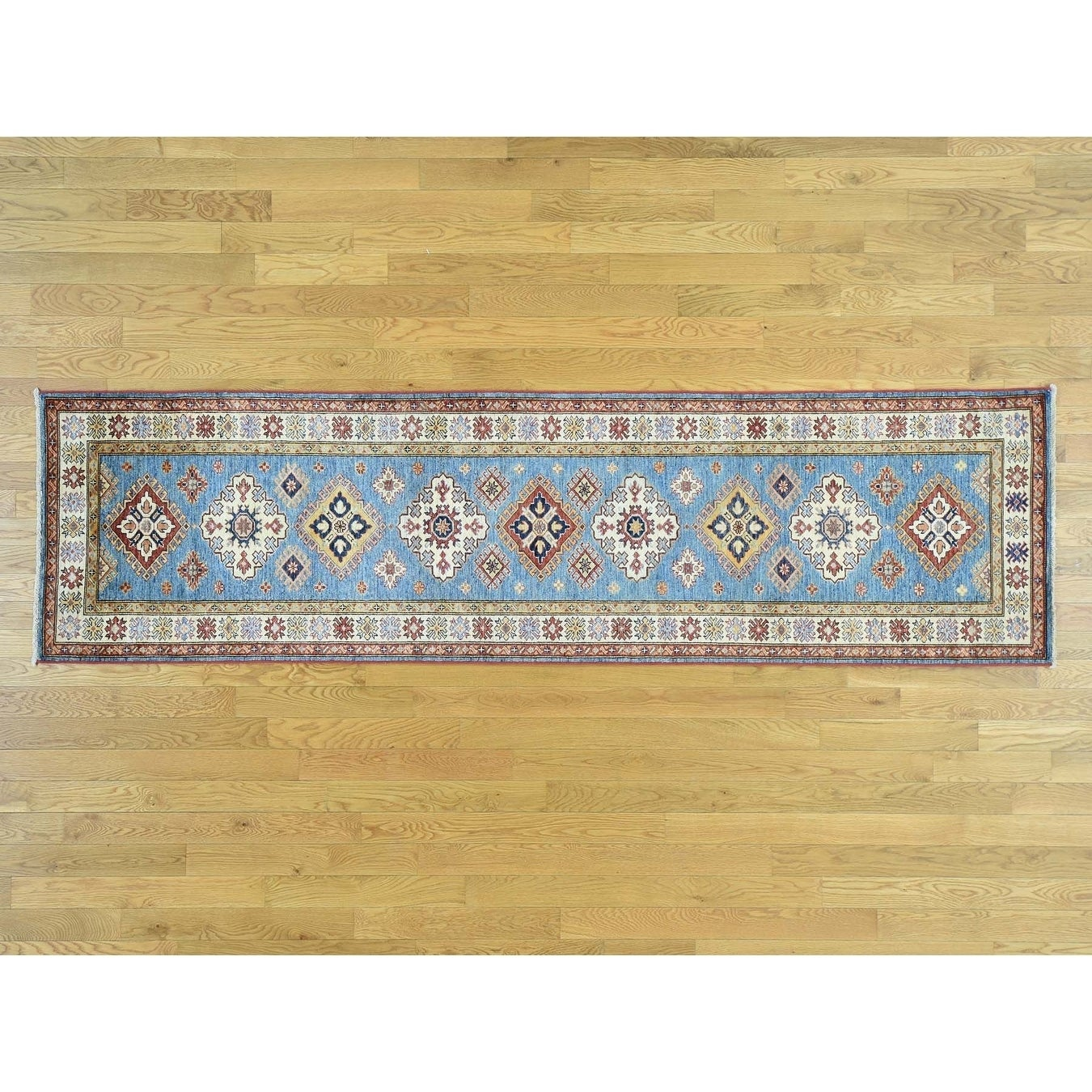Hand Knotted Blue Kazak with Wool Oriental Rug - 27 x 99