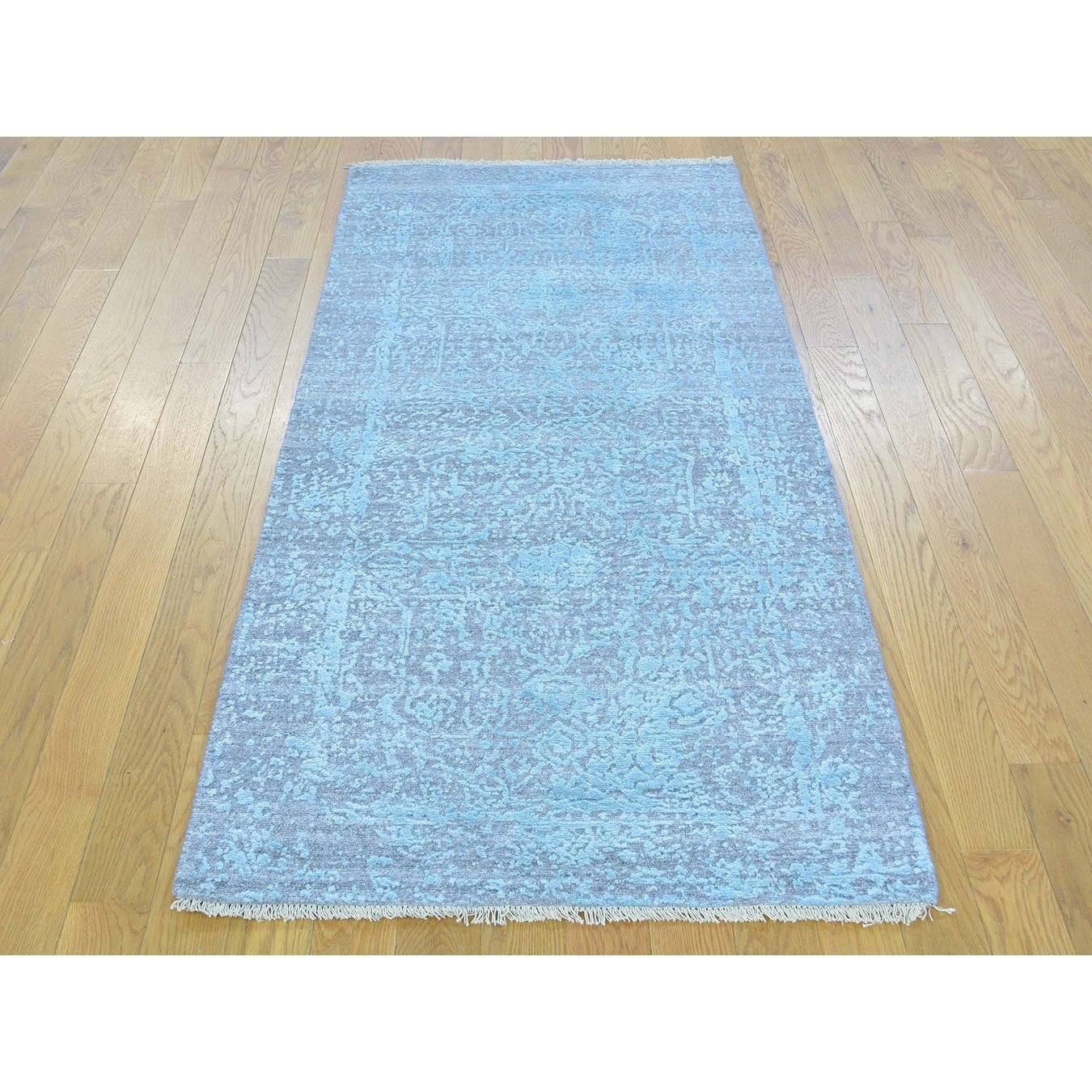 Hand Knotted Green Modern & Contemporary with Wool & Silk Oriental Rug - 26 x 510
