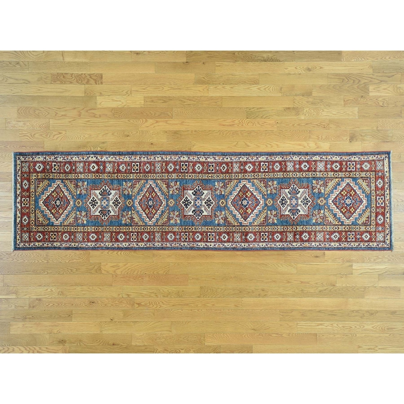 Hand Knotted Blue Kazak with Wool Oriental Rug - 28 x 104