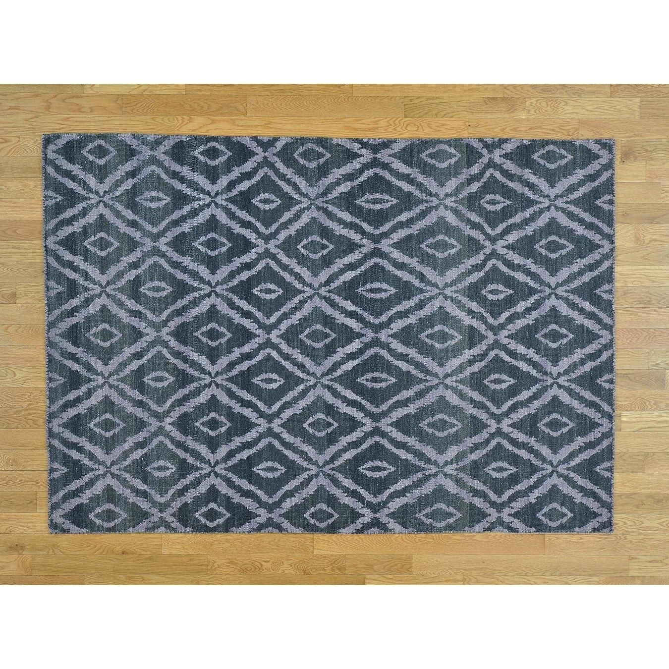 Hand Knotted Black Flat Weave with Wool Oriental Rug - 52 x 75