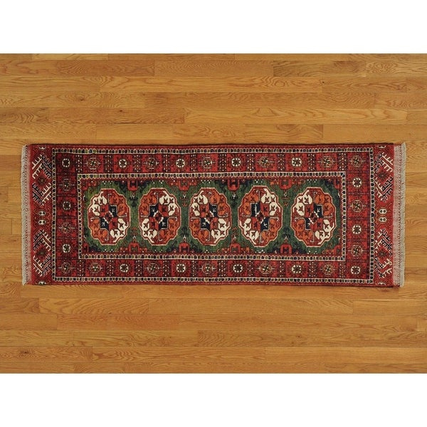 Hand Knotted Green Tribal & Geometric with Wool Oriental Rug - 2'5 x 6'7
