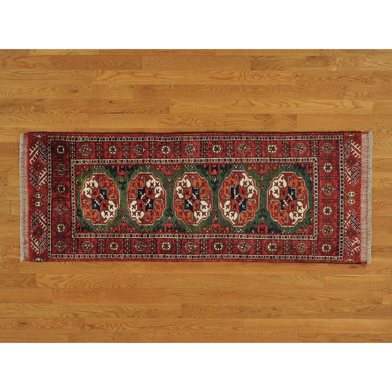Hand Knotted Green Tribal & Geometric with Wool Oriental Rug - 25 x 67
