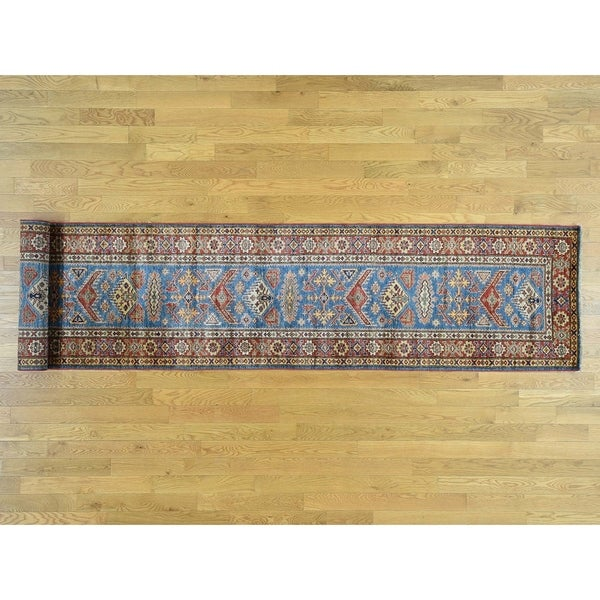 Hand Knotted Blue Kazak with Wool Oriental Rug