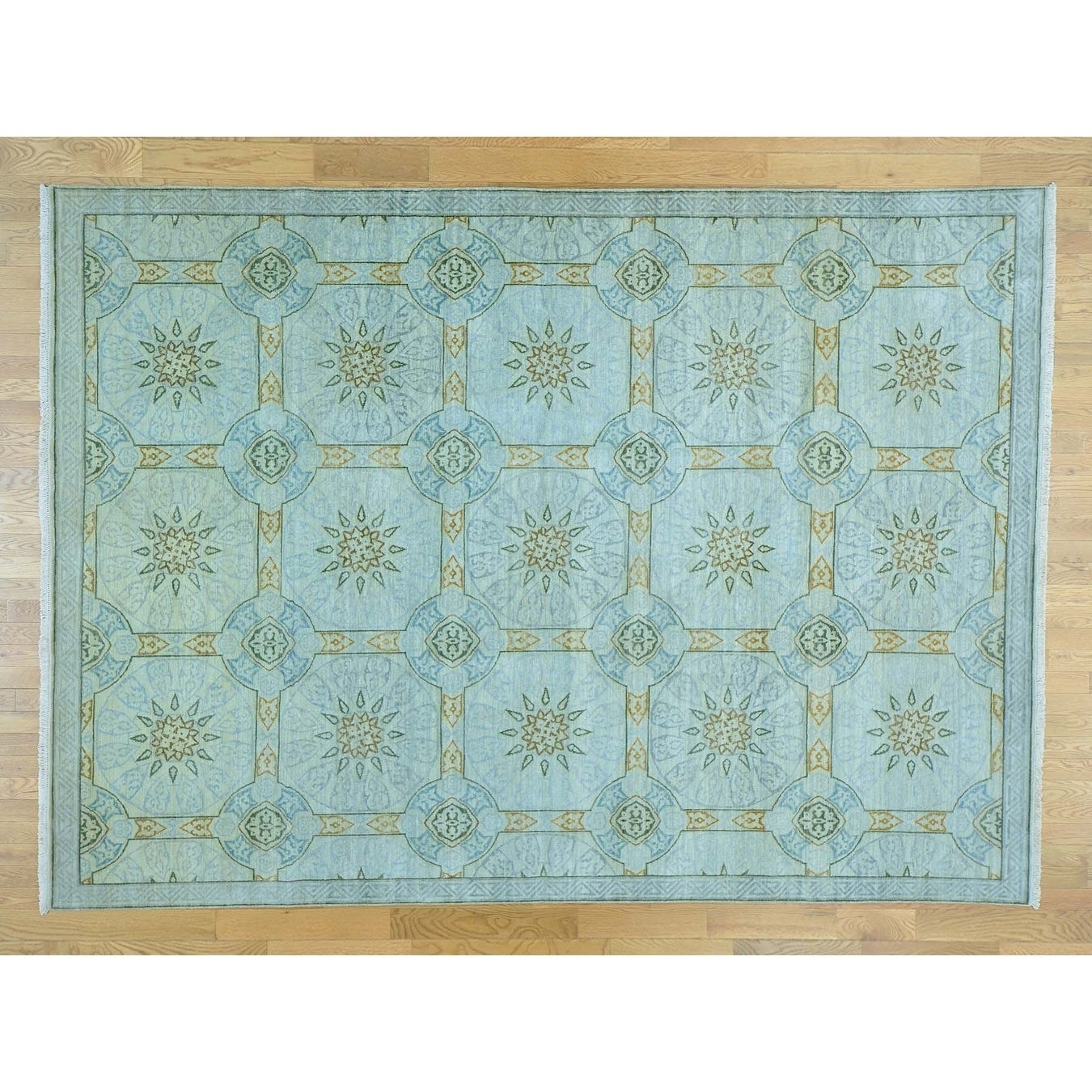 Hand Knotted Blue Arts And Crafts with Wool Oriental Rug - 810 x 123