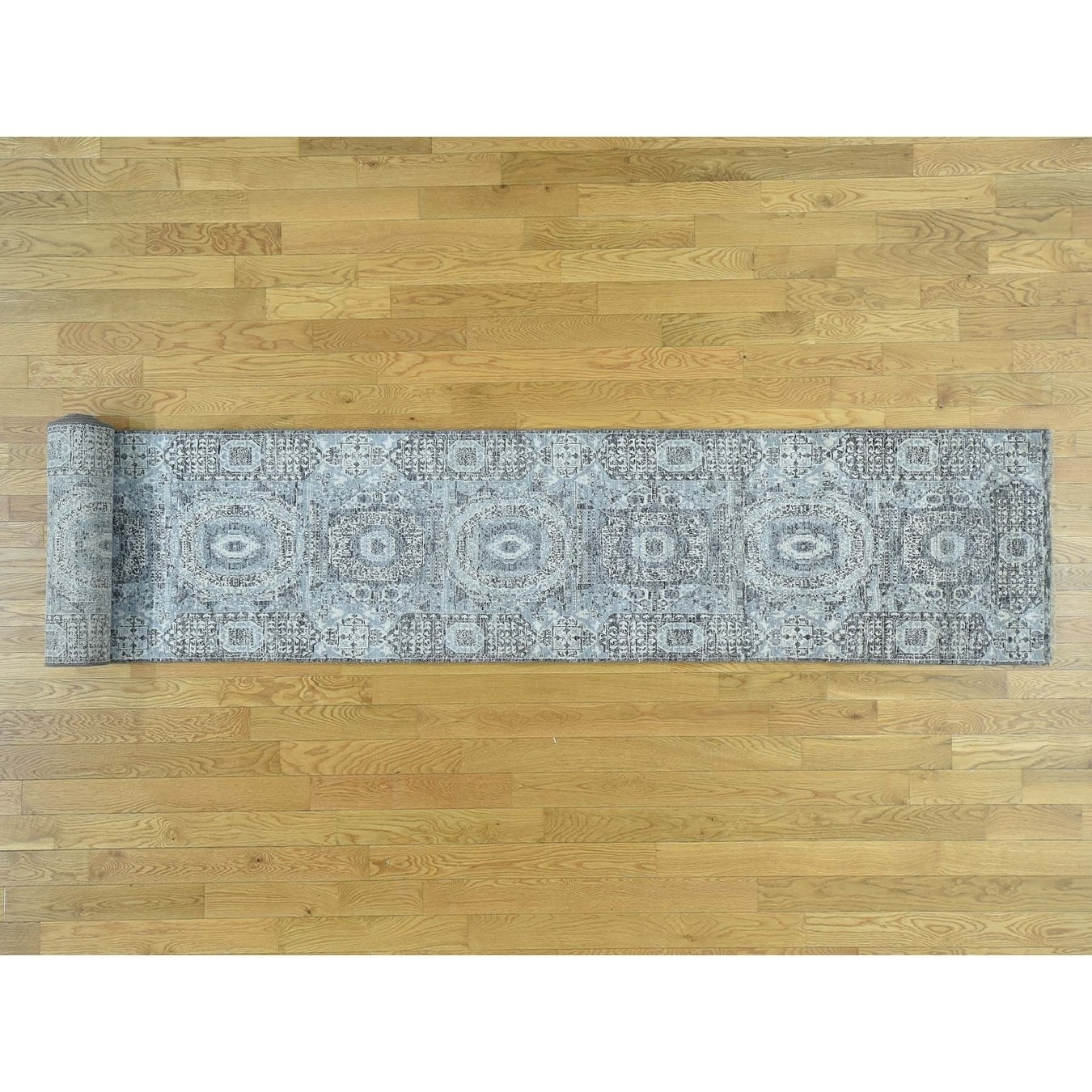 Hand Knotted Ivory Modern & Contemporary with Wool Oriental Rug