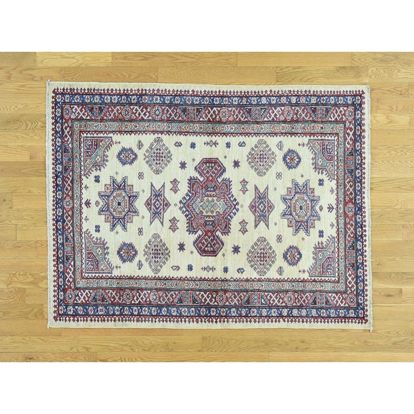 Hand Knotted Ivory Kazak with Wool Oriental Rug - 42 x 55