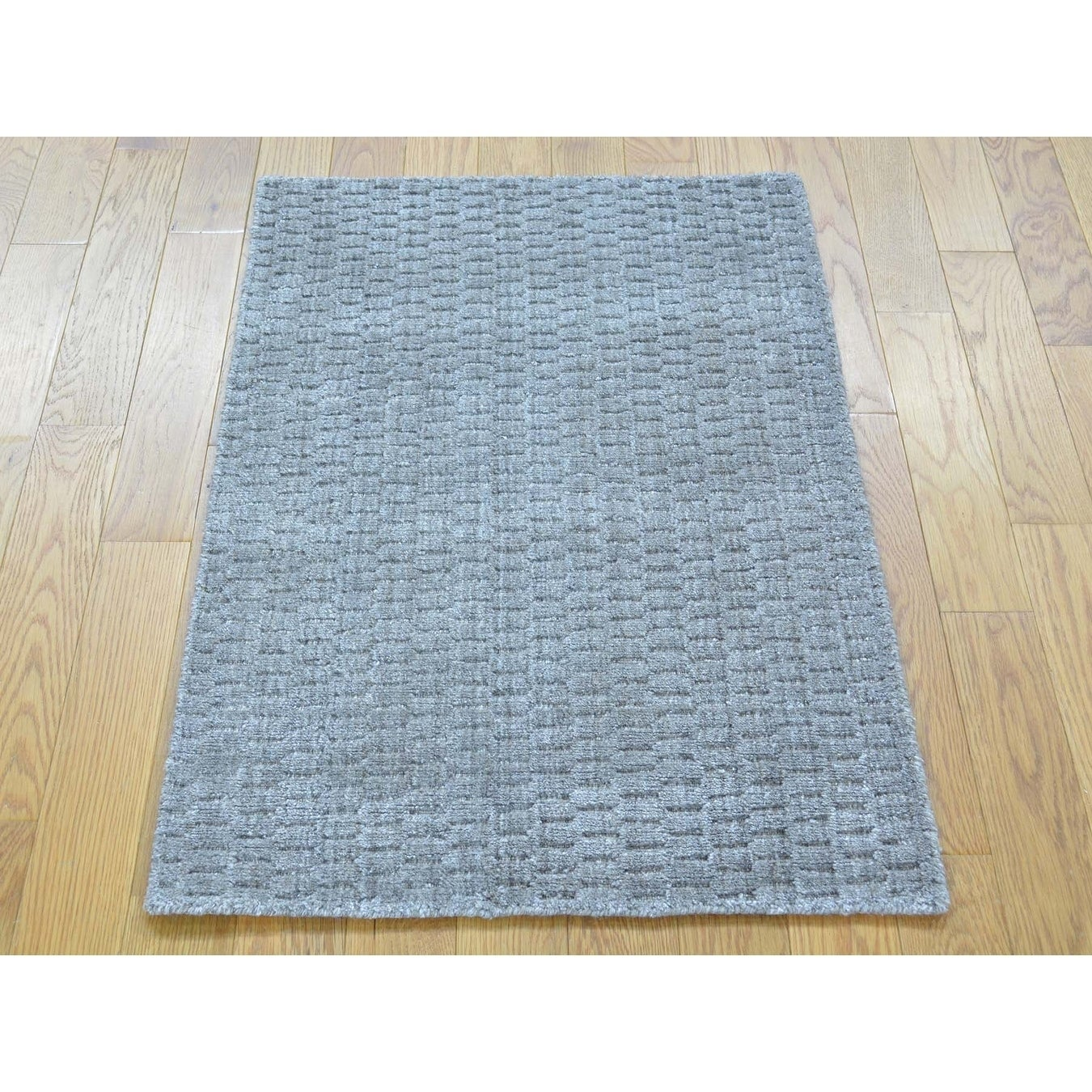 Hand Knotted Grey Modern & Contemporary with Wool & Silk Oriental Rug - 2 x 3