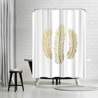 Americanflat 'Feathers Gold Foil' Shower Curtain