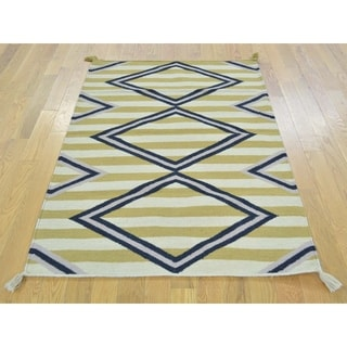 Hand Knotted Multicolored Flat Weave with Wool Oriental Rug - 3'2 x 5'