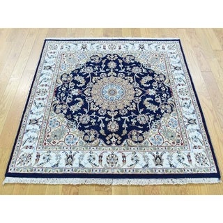 Hand Knotted Blue Fine Oriental with Wool & Silk Oriental Rug - 3'10 x 3'10