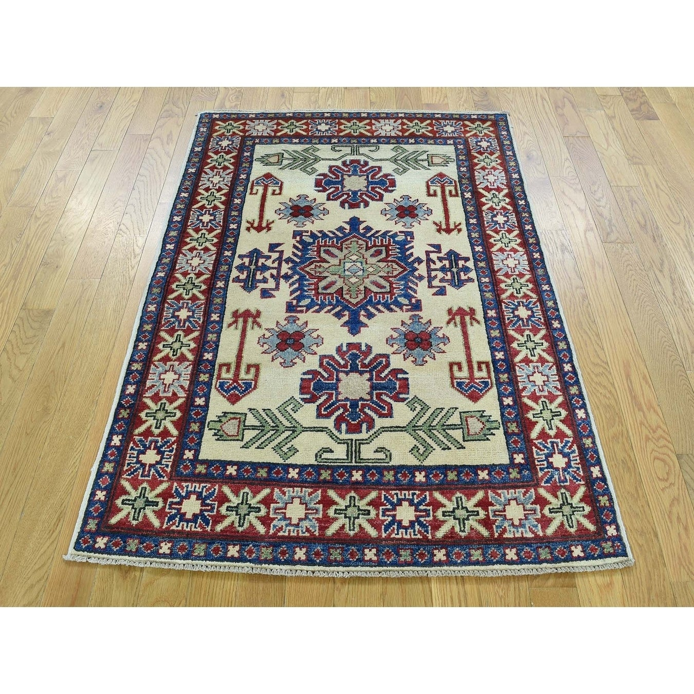 Hand Knotted Ivory Kazak with Wool Oriental Rug - 32 x 49