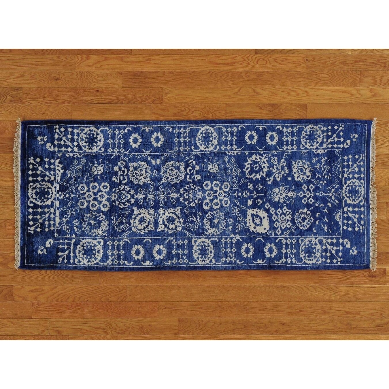 Hand Knotted Blue Modern & Contemporary with Wool & Silk Oriental Rug - 25 x 61