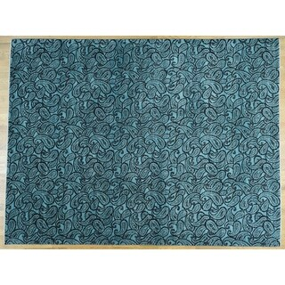 Hand Knotted Teal Modern & Contemporary with Art Silk Oriental Rug - 9'4 x 12'3