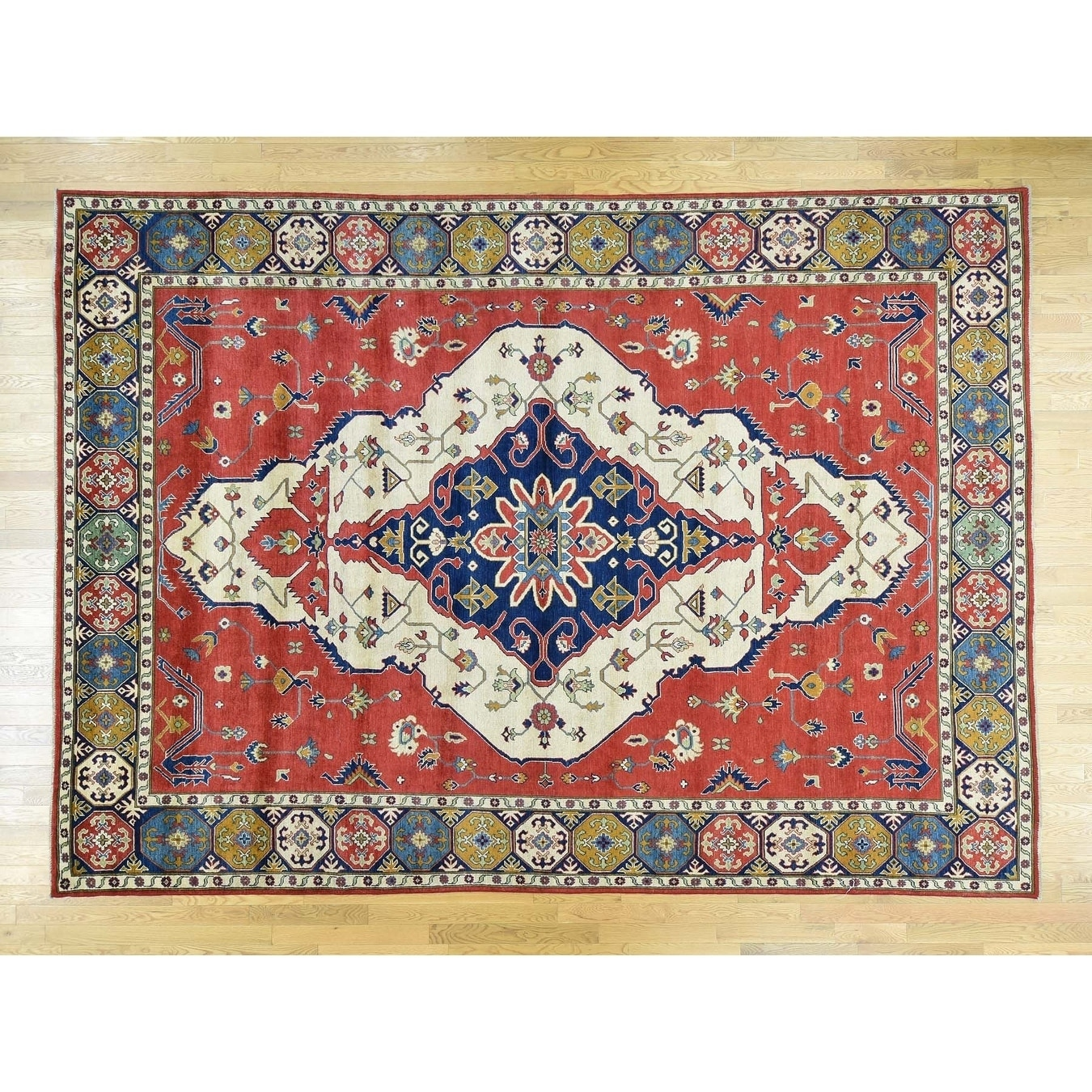 Hand Knotted Ivory Kazak with Wool Oriental Rug - 910 x 137