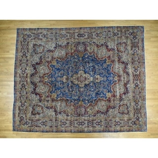 Hand Knotted Blue Persian with Wool Oriental Rug