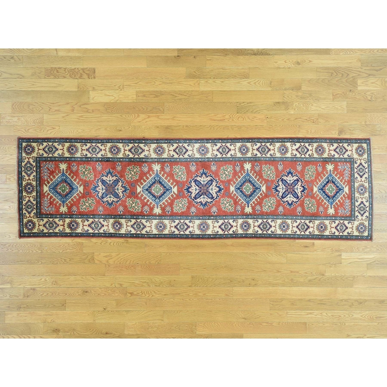 Hand Knotted Red Kazak with Wool Oriental Rug - 210 x 910