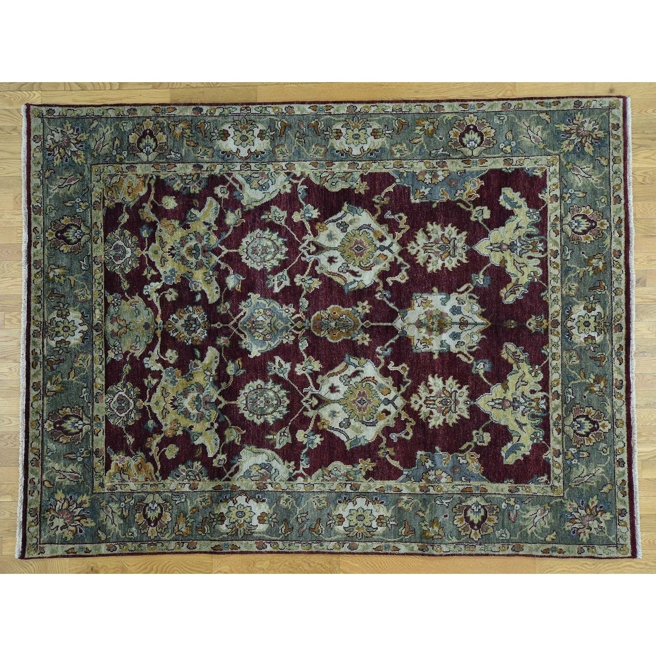 Hand Knotted Red Clearance with Wool Oriental Rug - 73 x 97