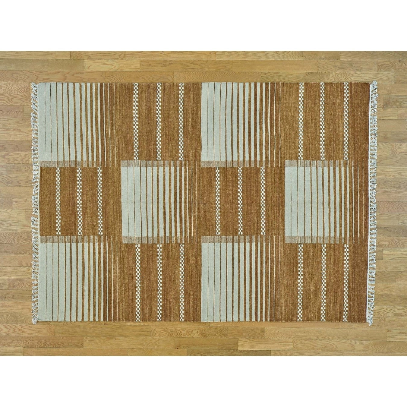 Hand Knotted Brown Flat Weave with Wool Oriental Rug - 58 x 710