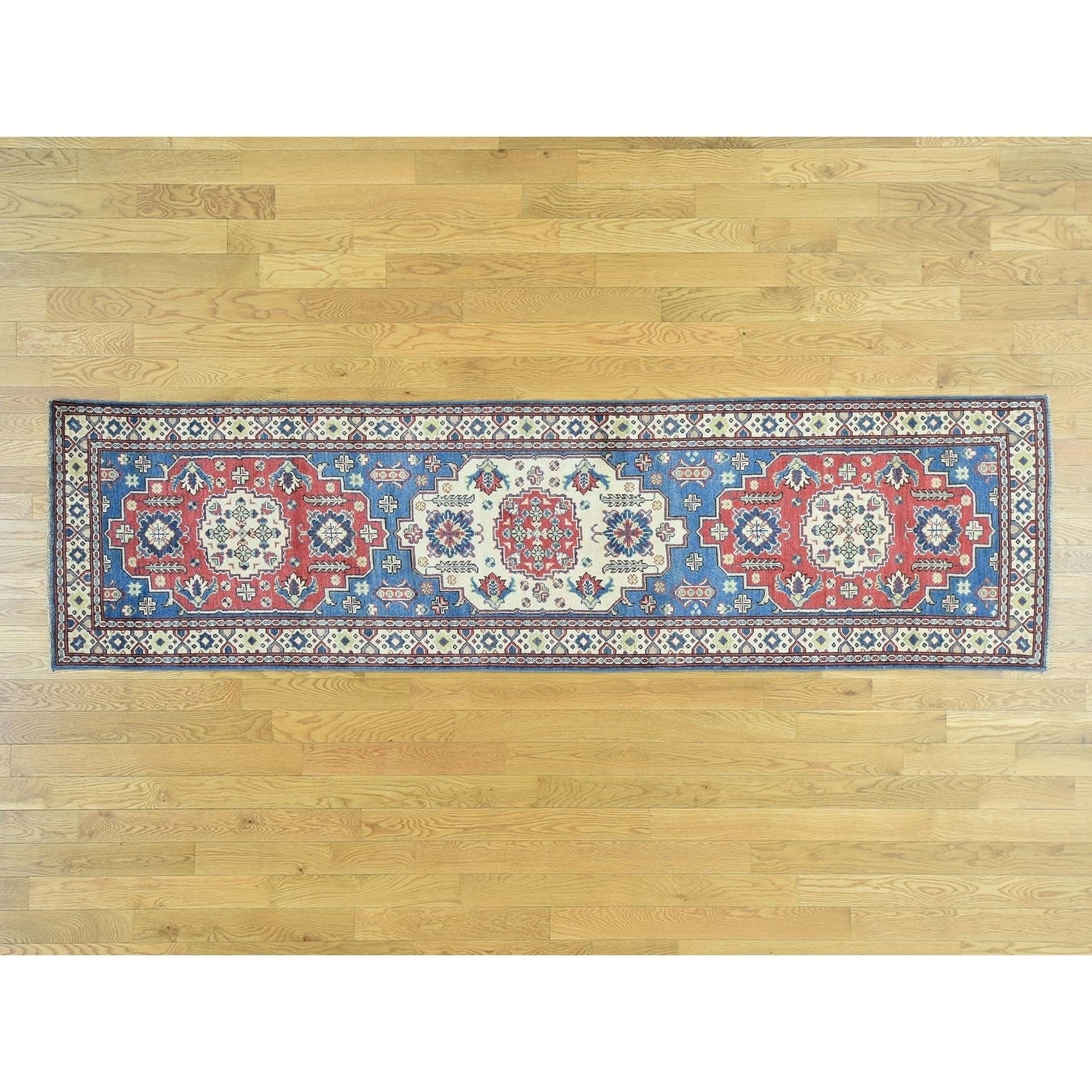 Hand Knotted Blue Kazak with Wool Oriental Rug - 29 x 103