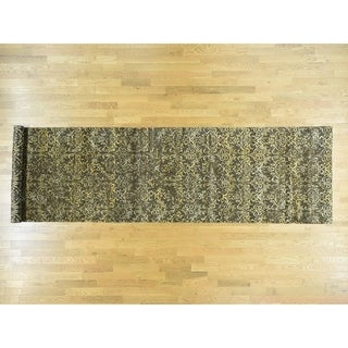 Hand Knotted Brown Modern & Contemporary with Wool & Silk Oriental Rug - 4'6 x 18'3