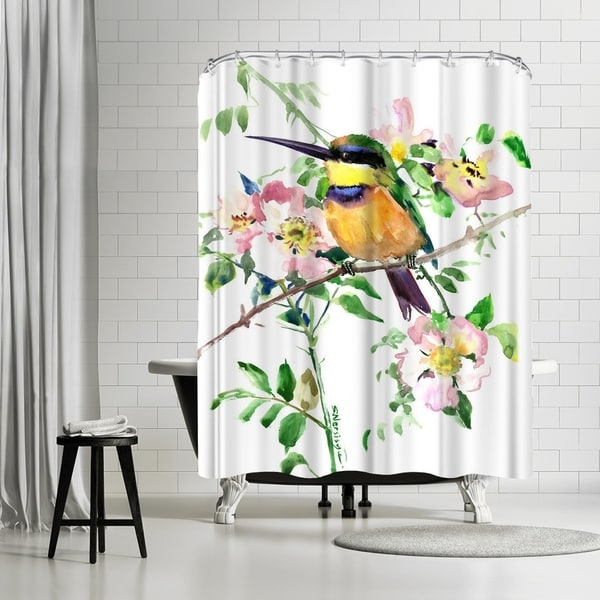 Shop Americanflat Bee Eater And Rosehop Shower Curtain