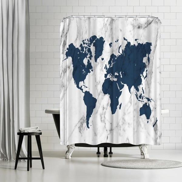Shop Americanflat Marble World Map Navy Shower Curtain On Sale