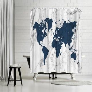 Americanflat 'Marble World Map (Navy)' Shower Curtain