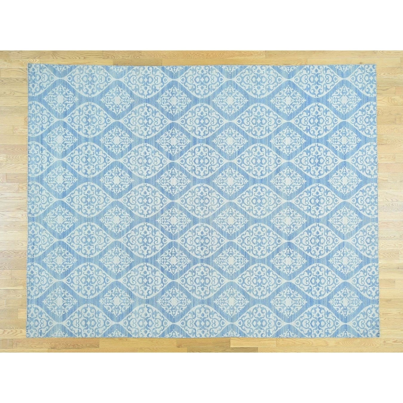 Hand Knotted Blue Flat Weave with Wool Oriental Rug - 79 x 910