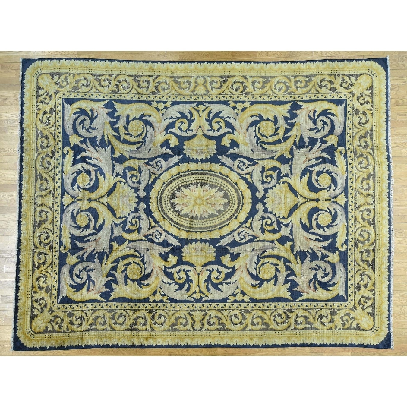Hand Knotted Blue Antique with Wool Oriental Rug - 1010 x 138