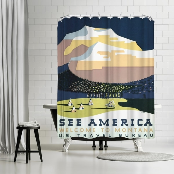 Americanflat Vintage See America Montana Travel Shower Curtain