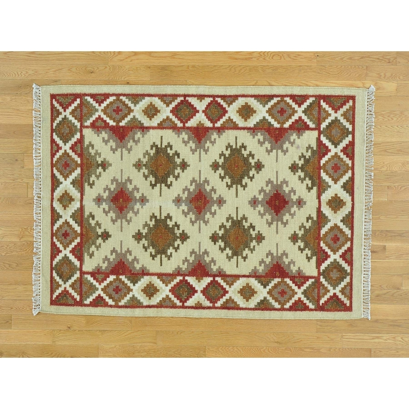 Hand Knotted Beige Flat Weave with Wool Oriental Rug - 43 x 6