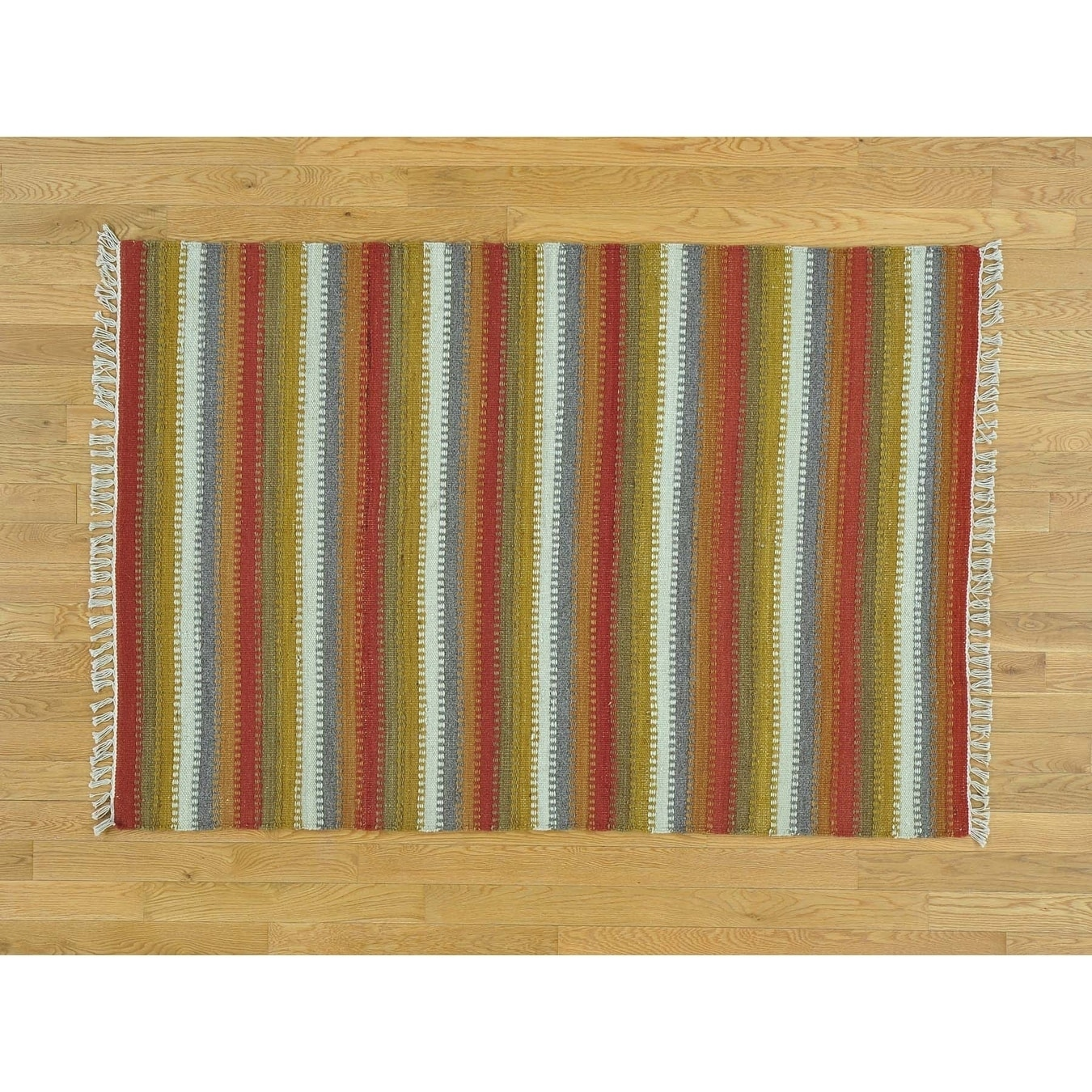 Hand Knotted Multicolored Flat Weave with Wool Oriental Rug - 4 x 510