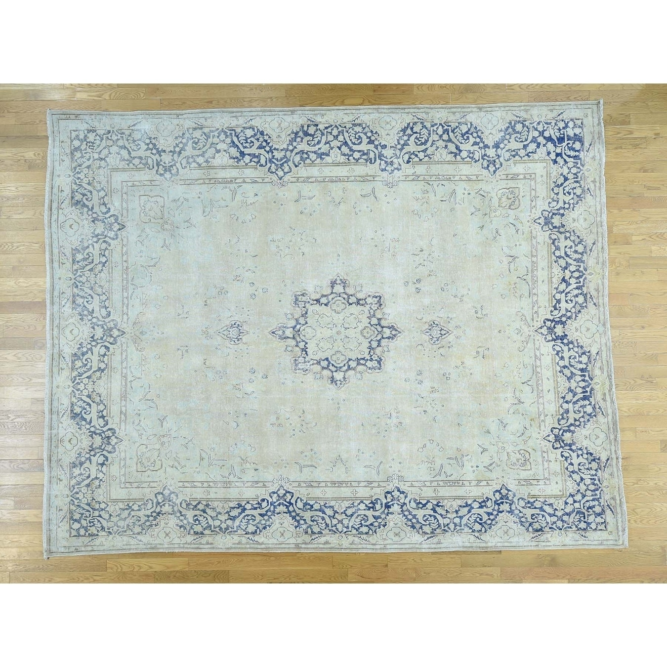 Hand Knotted Ivory White Wash Vintage & Silver Wash with Wool Oriental Rug - 10 x 127
